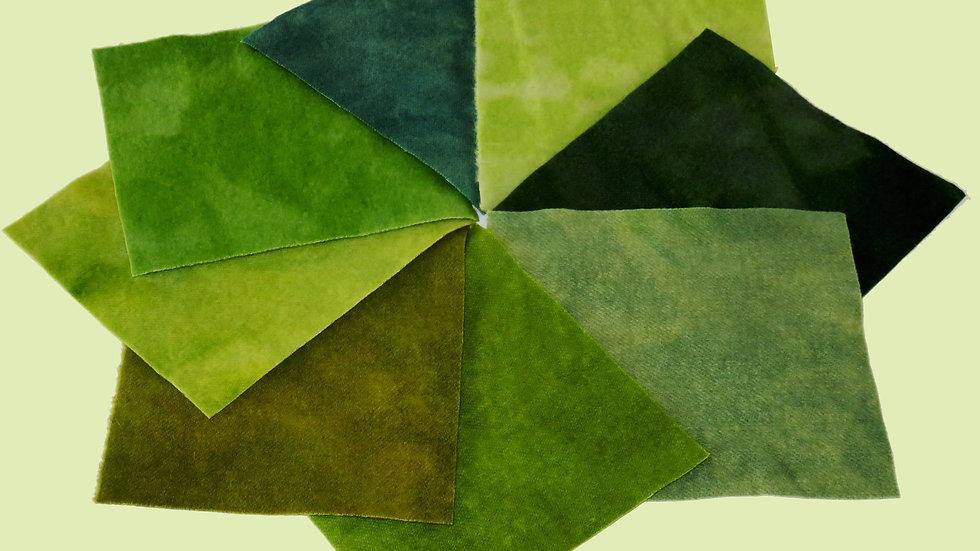 Green Hand Dyed Wool Bundle