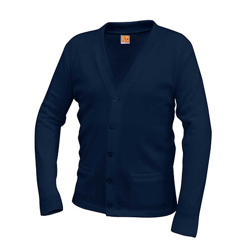 HAPVEILLE MIDDLE NAVY V-NECK CARDIGAN