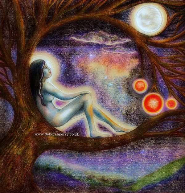 Fairy sitting in a tree looking at the moon