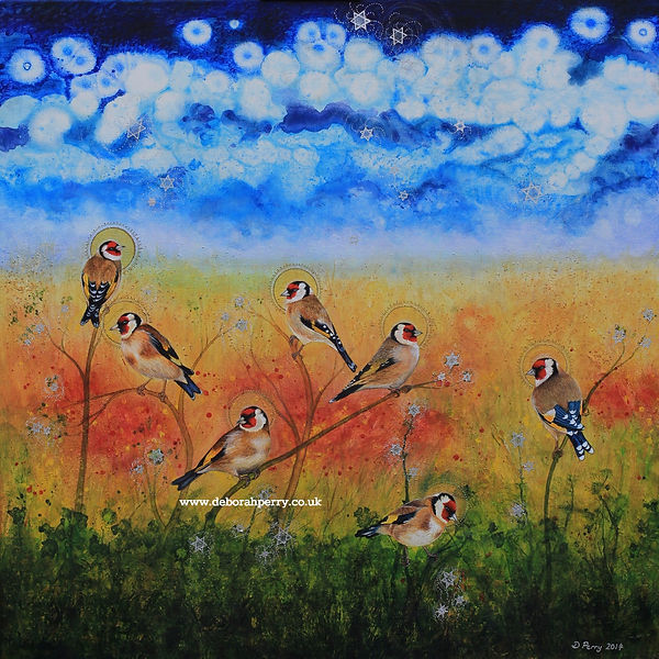Goldfinches collecting stars