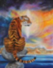 A tiger balancing on a rock in front of a crystal portal