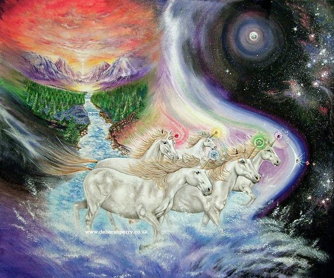 unicorns running through water