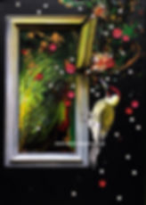 woodpecker breaking through a picture frame