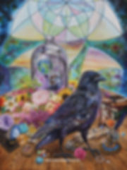 A crow on a magicians table with an experiment involving two earths