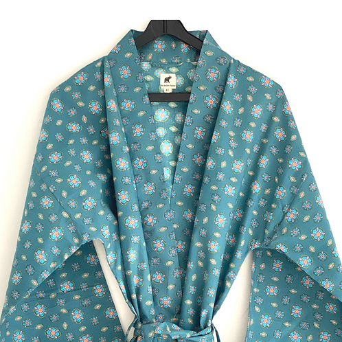 Robe / Kimono  - Blue Border Block Print / Lounge / Resort Wear