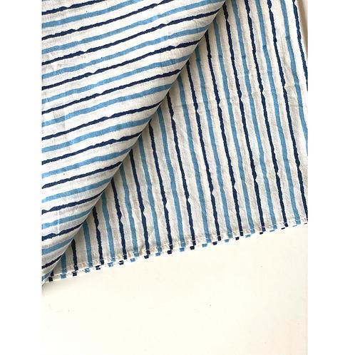 Bandana - Block Print blue  Stripes Cotton/ Table Napkin