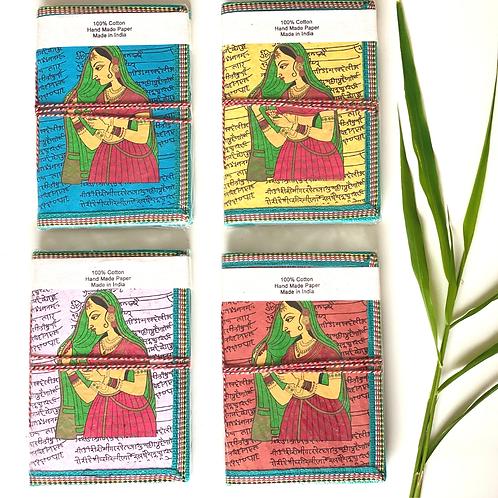 Handmade Paper Journal - Indian Queen Cover - Set of 4 Gift