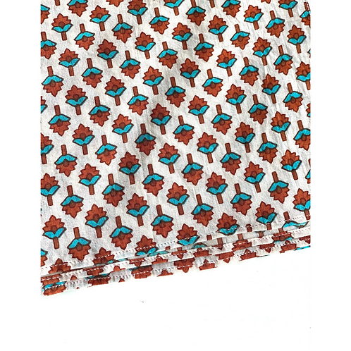 Bandana - Hand Block Blue Flower Buti Print Cotton/ Headband