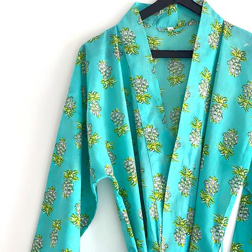 Robe / kimono  - Hand Block Pineapple Printed Mulmul Cotton Robe