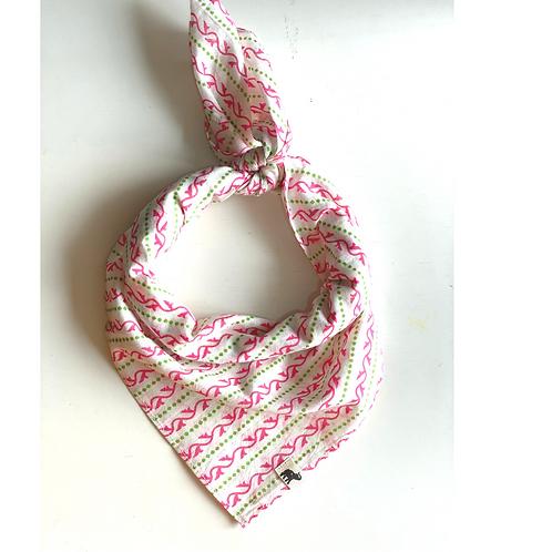 Bandana - Pink green Stripes print  Cotton/ Table Napkin
