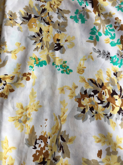 Yellow Floral Fabric, Indian fabric, SS17, Flower Power, Fabric by the Yard