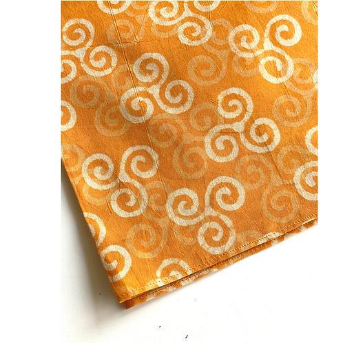Bandana - Block Print mustard yellow white Cotton/ Napkin