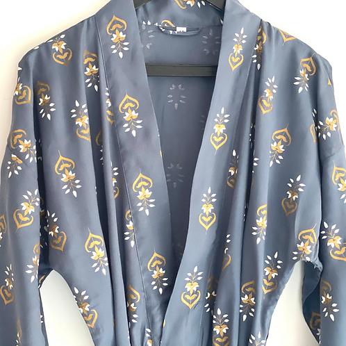 Robe / kimono - Grey Viscose Lounge wear in buta print viscose