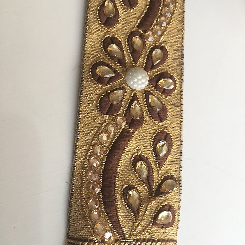 Golden Lace Trim, lace by the yard, Golden embellished lace, Stone and beaded la