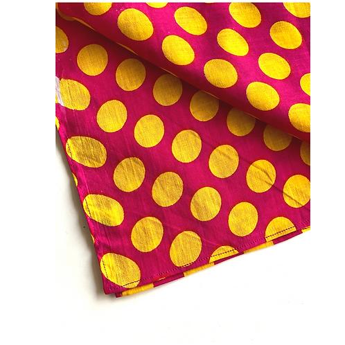 Bandana - Fuchsia and Yellow Dot Print Cotton/ Napkin