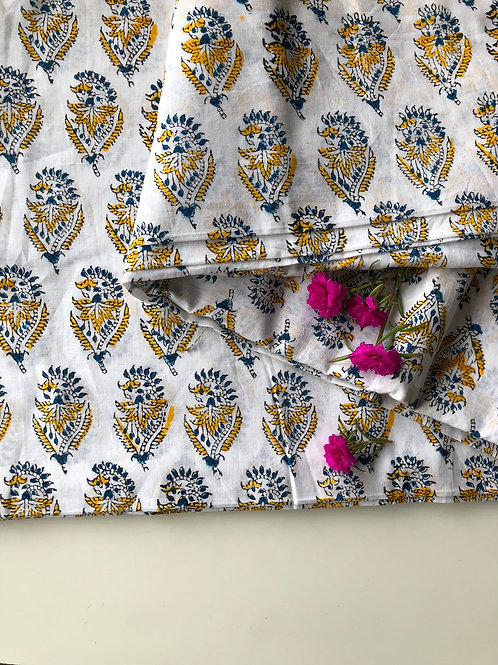 Hand Block Print Fabric, Indian Mulmul Cotton Fabric, yellow Floral all over pri