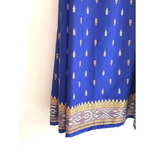 Sarong / Scarf / Wrap Skirt - Blue and gold print + border