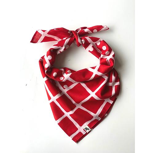 Bandana -   Red and white geometric  Printed Cotton /Headband