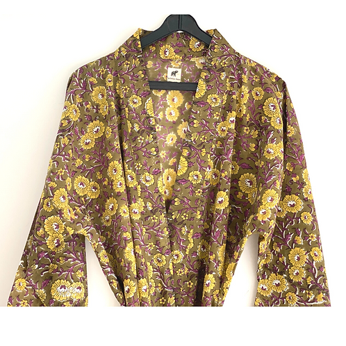 Robe Long - Brown Peace Block Print/ Resort / Lounge Wear