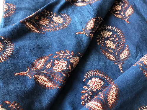 Block Print Fabric, Indian Fabric, Hand stamped fabric, Flower print, Indigo and