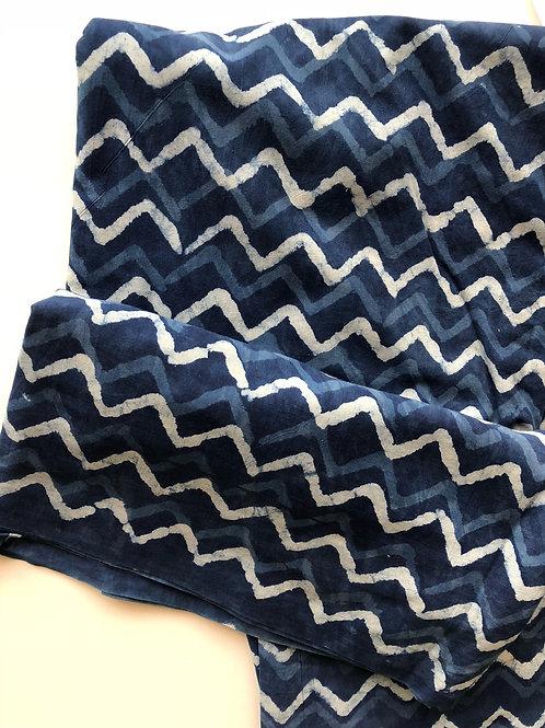 Indigo Print fabric, by the yard, Hand Stamped Zig Zag Print, Indian cotton