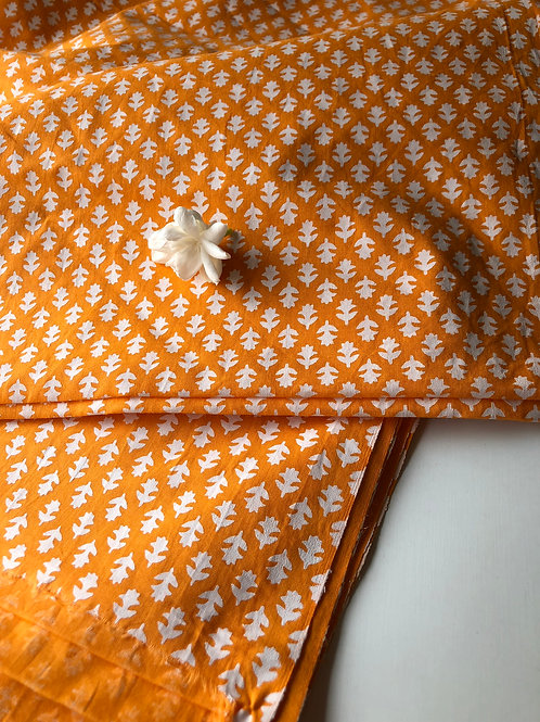 Block Print Fabric, Indian Fabric, White and Orange Fabric, Boho Print, Indian C