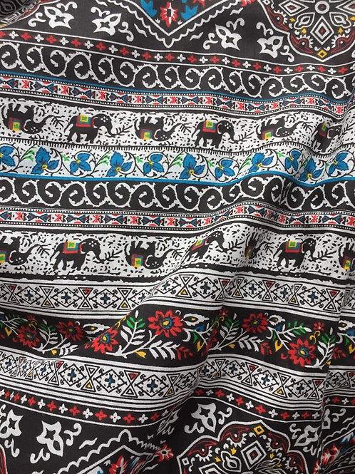 Elephant Print Fabric, Boho Fabric, Alternate Elephant Print, Multicolor print