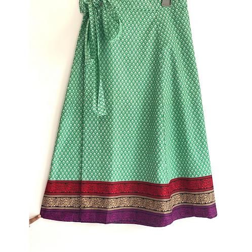 Wrap Skirt - Green block print with border/ wraparound skirt