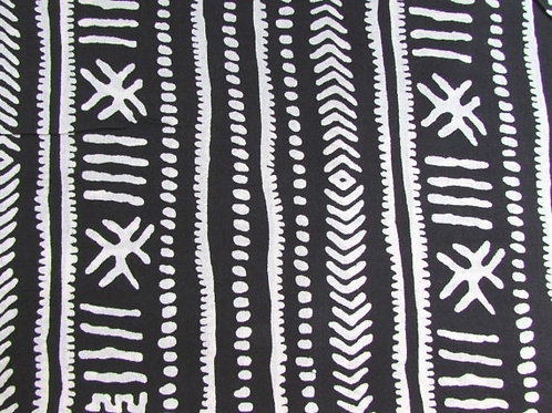 Black and White, Tribal Print, Indian Cotton, Boho Fabric, by the yard