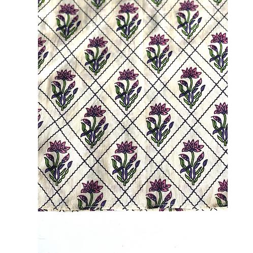 Bandana - Block Print pale  Cream  jaal Cotton/