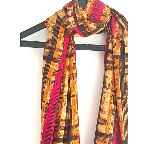 Stole / Scarf - Viscose Pink and Gold Stole