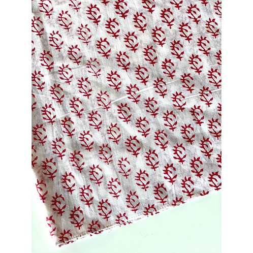 Bandana - Block Print flower buti beige Cotton/ Table Napkin