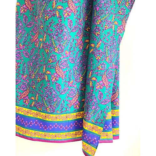 Sarong / Scarf / Wrap Skirt - Green block print with border