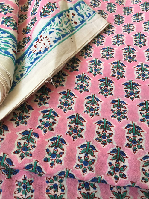 Block Printed Cotton Fabric, Hand stamped fabric, table printed fabric, Indian C