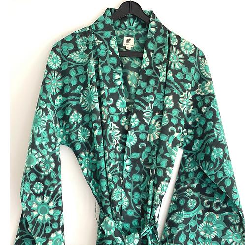 Robe  / Kimono  - Green Batik Lounge Robe + matching bag