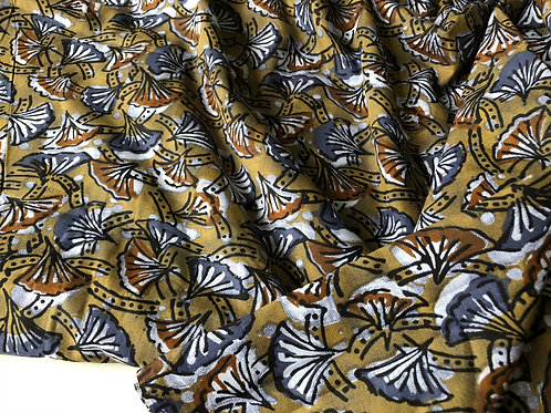 Botanical Print Ginkgo leaves, Indian cotton fabric, Indian printed textile, Ind