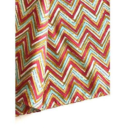 Bandana - Block Print Zig zag Chevron Cotton/ Table Napkin