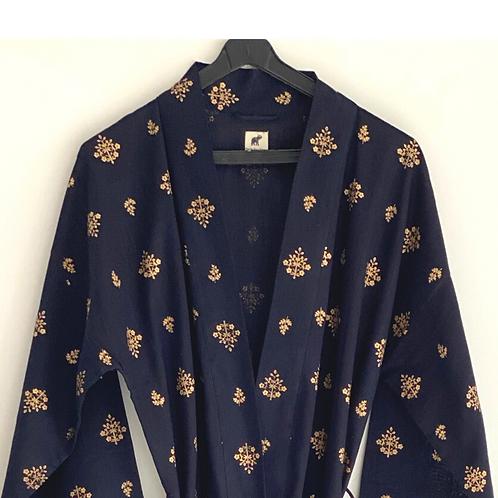 Robe / Kimono  - Black Gold Block Print / Resort Beach Wear