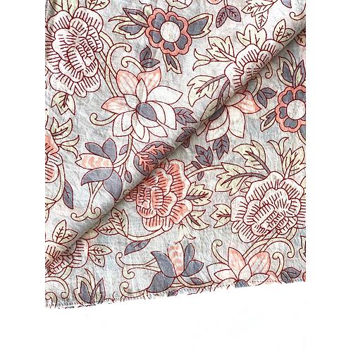 Bandana -  Gray   Floral Block Printed Cotton / Headband