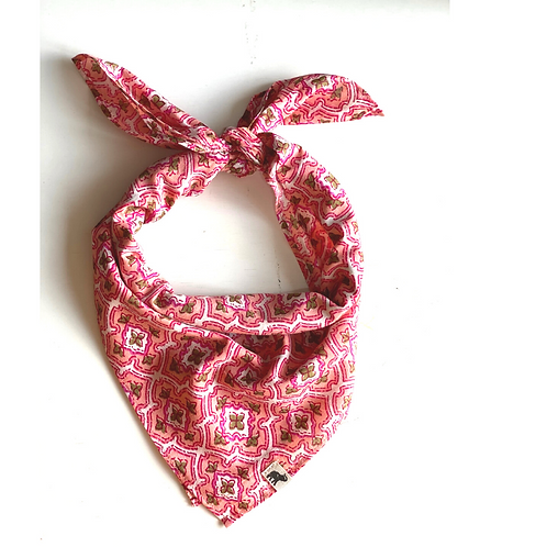 Bandana - Block Print Pink white  jaal Cotton/Napkin