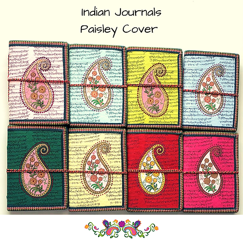 Handmade Paper Journal - Paisley Cover - Set of 4 - Gifts