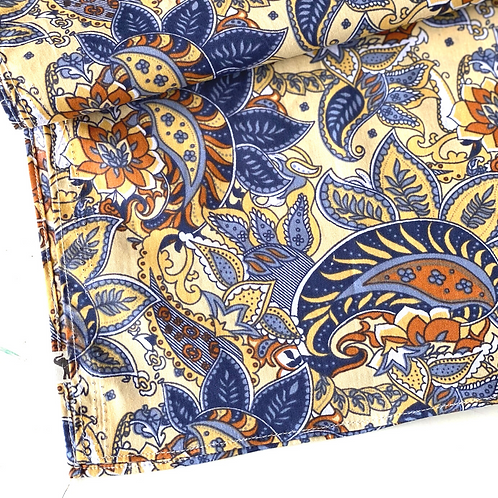 Bandana -  Yellow Blue Paisley Printed Cotton / Headband