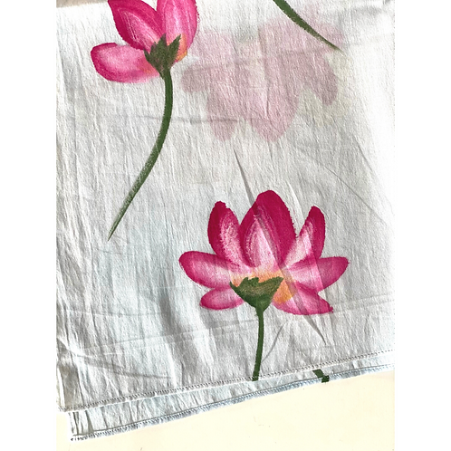 Bandana - Hand Painted  flower buti Cotton/ Table Napkin