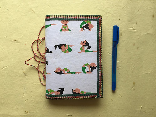 Yoga Poses Journal, Yoga Asanas cover, White and Green, Yoga Sequencing Diary