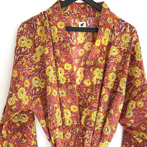 Robe / kimono  - Orange Yellow Block Print Lounge / Resort Wear