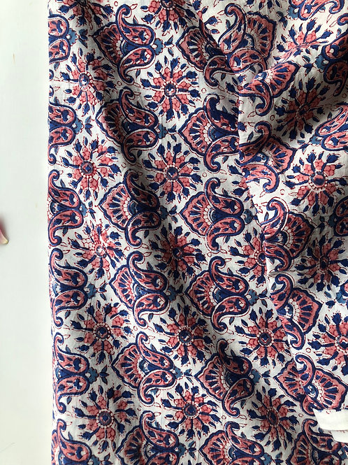 Indian Cotton Fabric by the yard, Hand Block Print Fabric, hand stamped, Quiltin