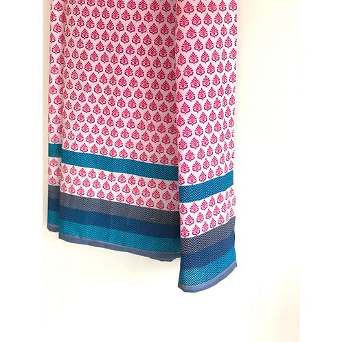 Sarong / Scarf / Wrap Skirt - Pink and blue print + border