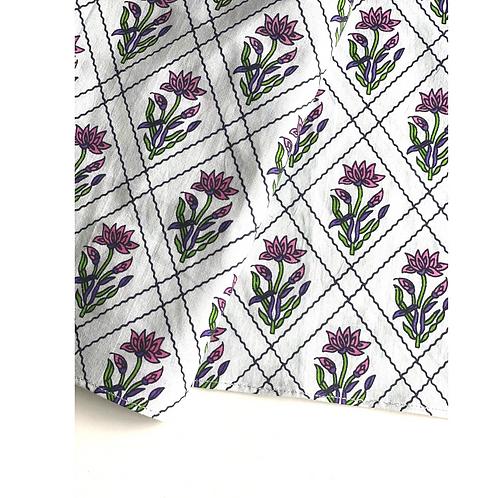 Bandana - Block Print pale White  jaal Cotton/ Napkin