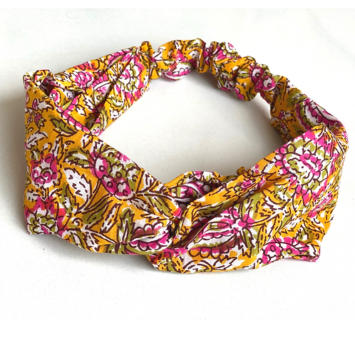 Twisted Turban Headband - Women + Girl - Yellow Pink Flower