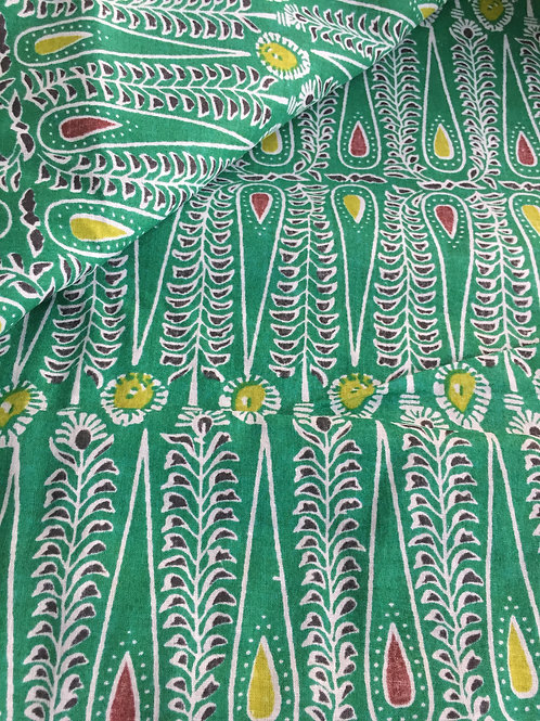 Indian Fabric, Bindi Print, Green Print, Rain Drop print, Printed Cotton
